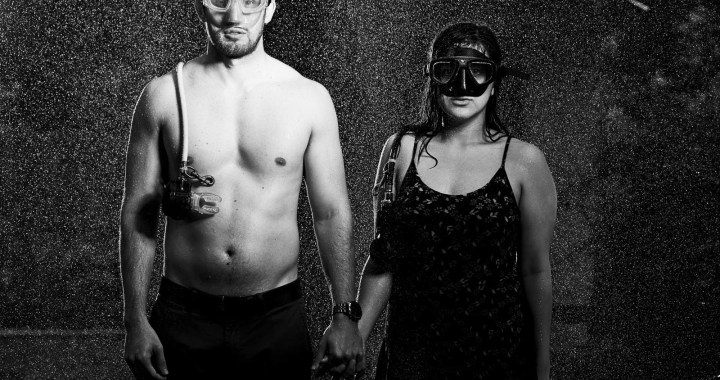 Chris and Samantha Engagement - soaked engagement - epic engagement photos - scuba diving engagements - black and white engagements - austin wedding photographers - creative engagement photo ideas