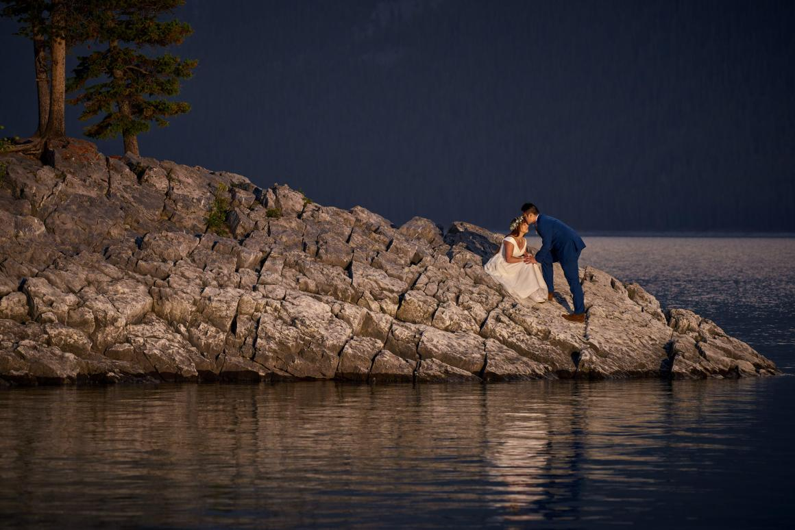 Emily and Jasper, Banff National Park Wedding - Sunrise Wedding Photos, Lake Minnewanka