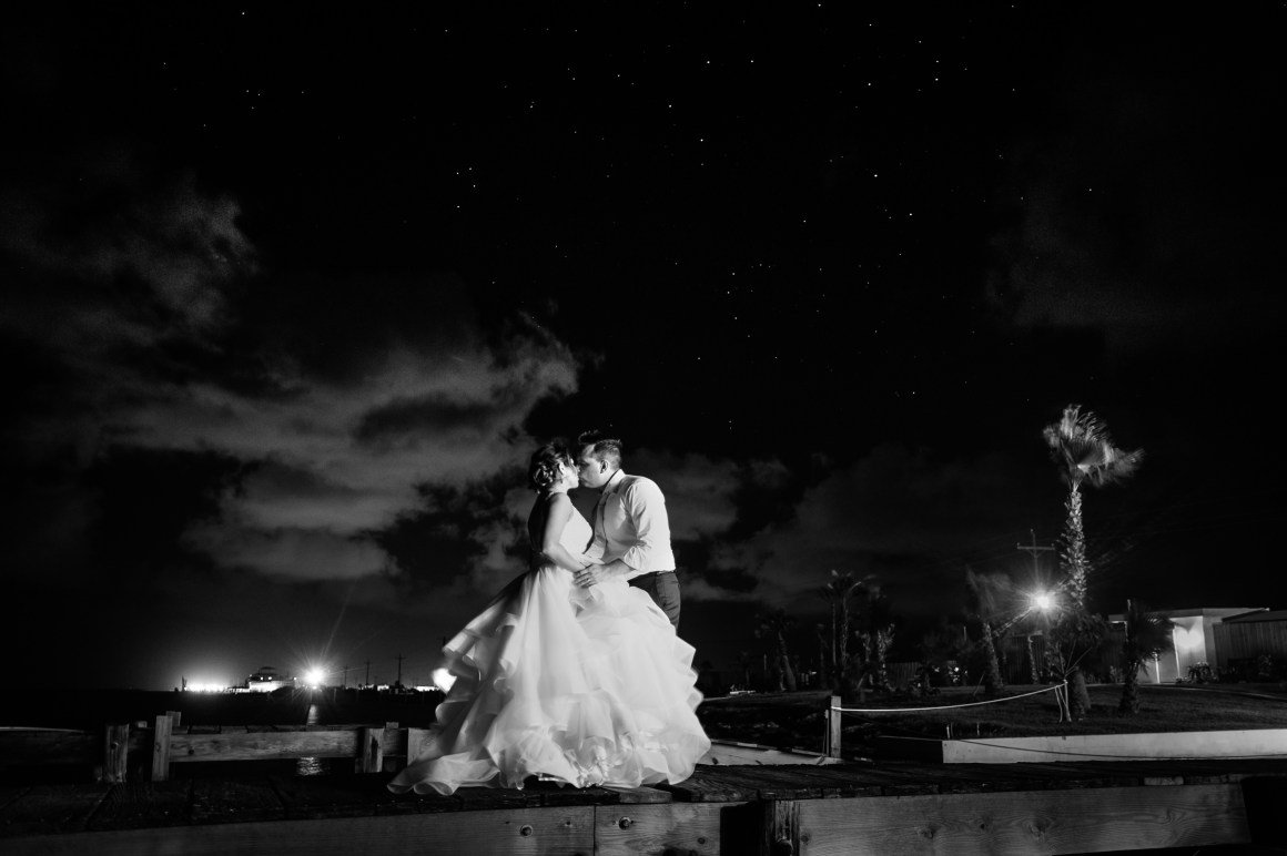 Adventure Wedding, Destination Wedding, outdoor wedding, Beach Wedding, Port Aransas Wedding, Port Aransas,Austin Wedding Photographers, Wedding Portraits under stars,Black and White Wedding Portraits,