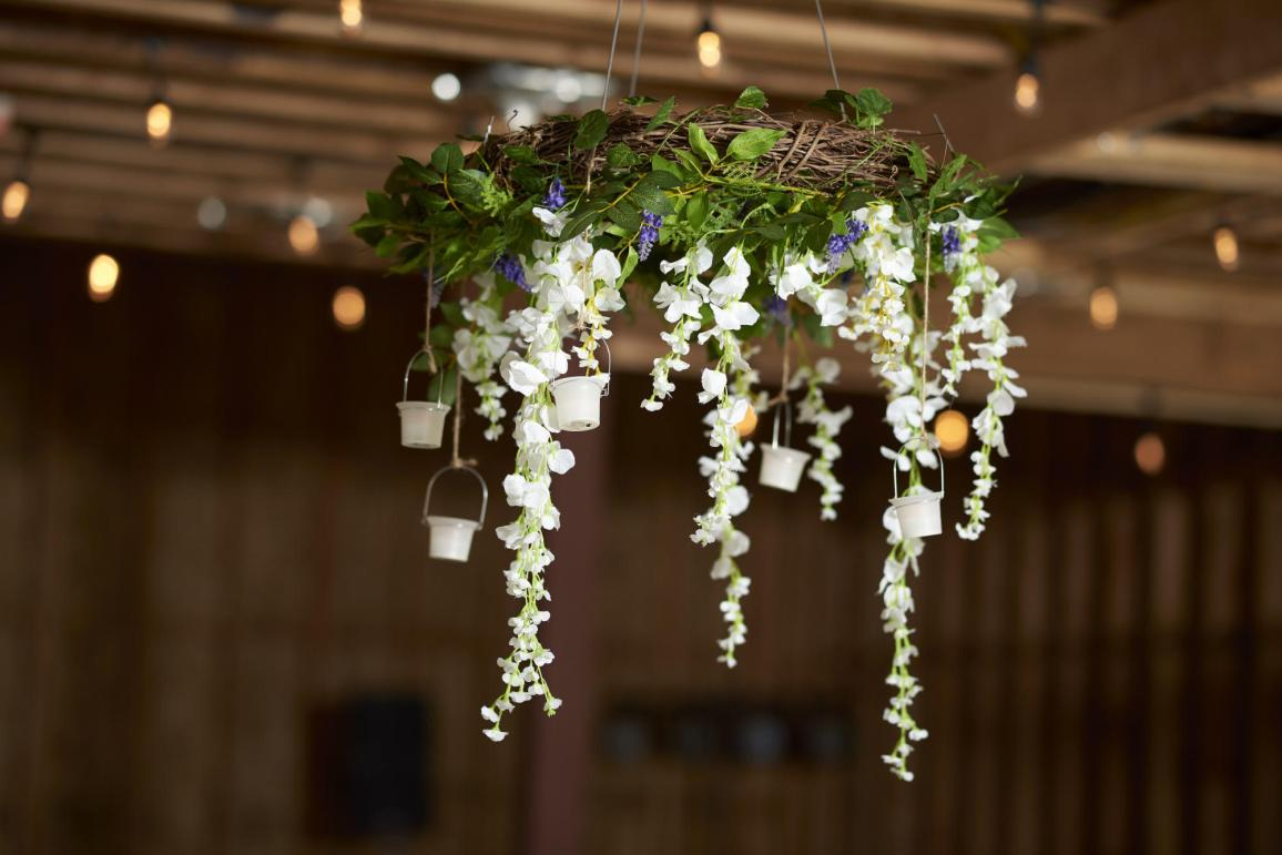 Hanging boquet in barn.