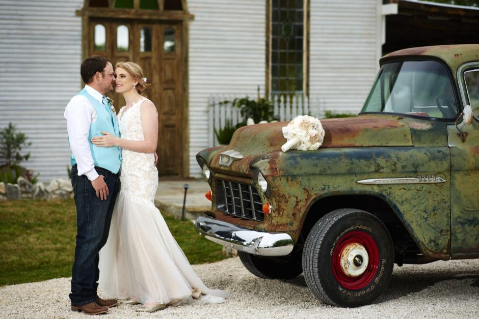 Guene Estate Wedding Portrait with Old Truck