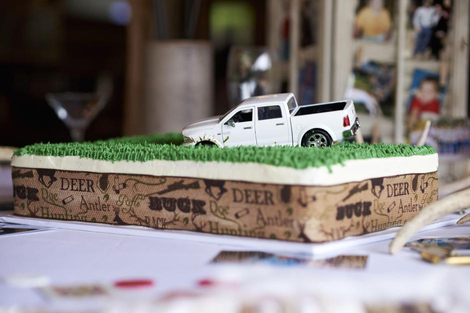 Grooms Cake with His Truck Stuck in the Mud