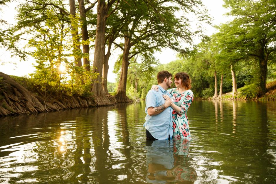 Austin and Meghan Landa Park Engagement Photos in the water.