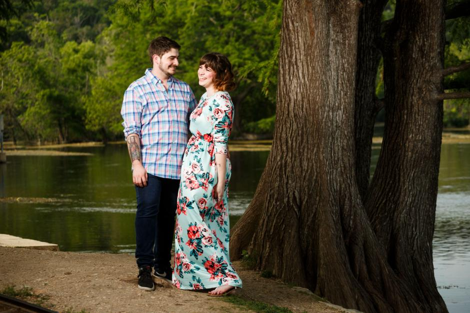 Austin and Meghan under a Cypess Tree for Landa Park Engagement Photos