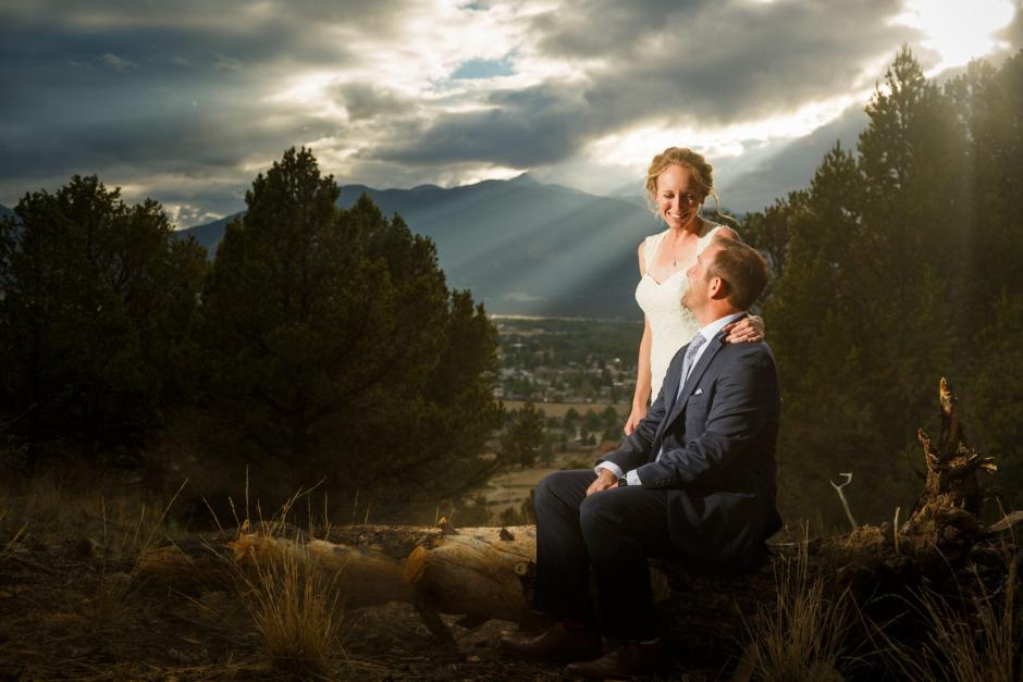 Allison and Gabe mountain top wedding portraits in Buena Vista Colorado during their DIY wedding.