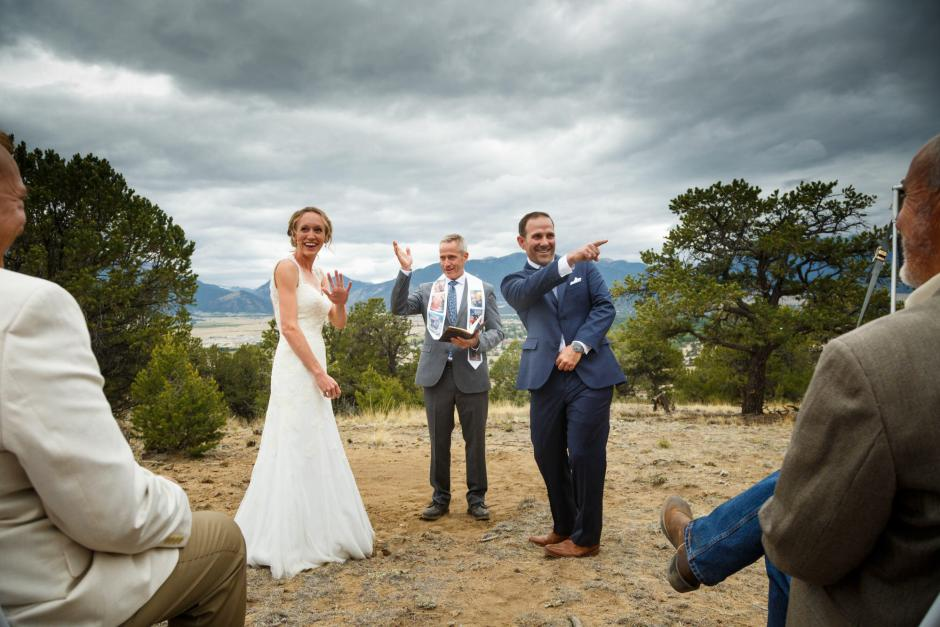 Allison and Gabe are excited during their DIY wedding ceremony.