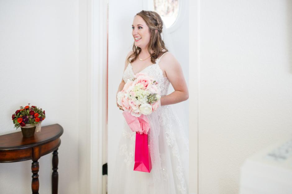 Joshua and Brittany Wedding - Bride finished getting ready before her wedding at Hyde Park Presbyterian Church in Austin, TX.