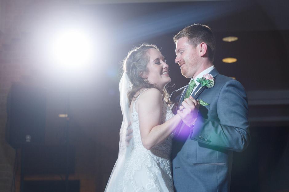 Joshua and Brittany Wedding - Bride and groom's first dance at their UT Alumni Center wedding reception. Etter-Harbin Alumni Center.