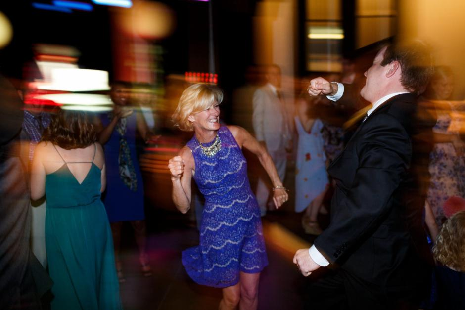 Guest dance at Mike and Kathie's downtown Austin wedding reception.