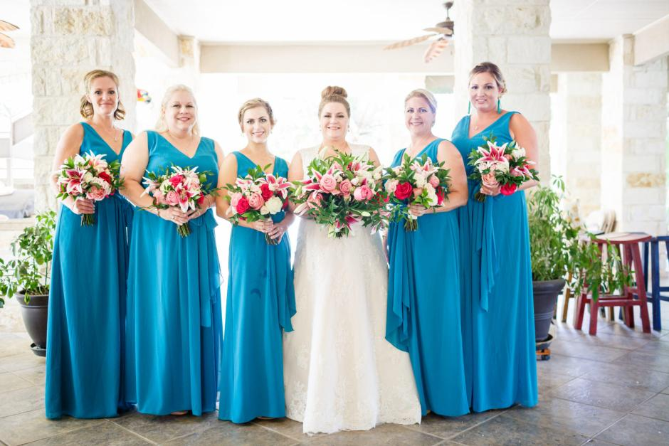 Bridal Party portrait at First United Methodist Church in Seguin Texas.