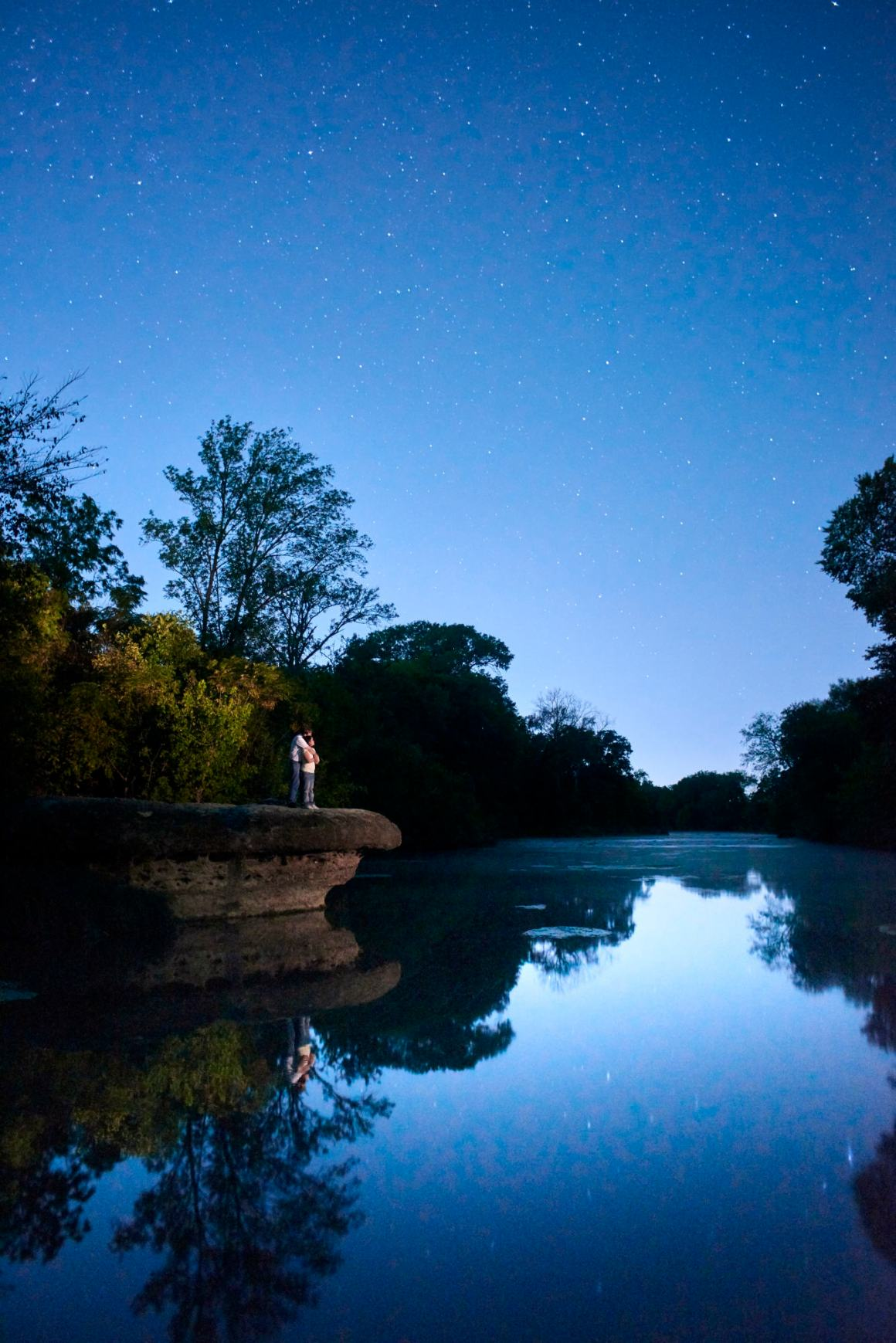 Jonah Engagement Photos on the San Gabriel River under the stars.