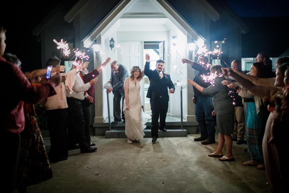 Austin and Meagan sparkler exit at their Old Fashion Wedding near San Antonio, Tx.