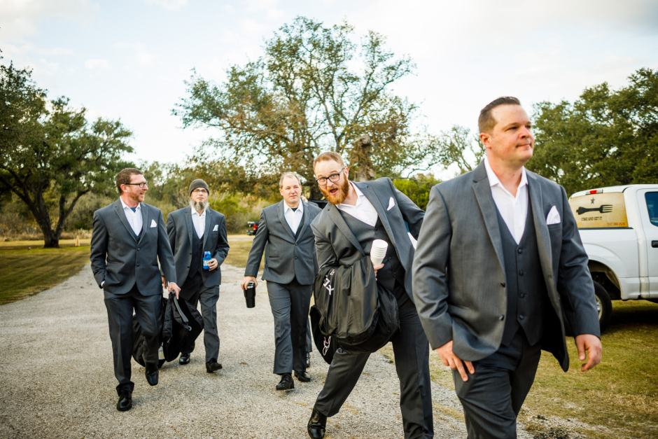The groom and his groomsmen arrive at Ruby Ranch and Lodge in Buda, TX.