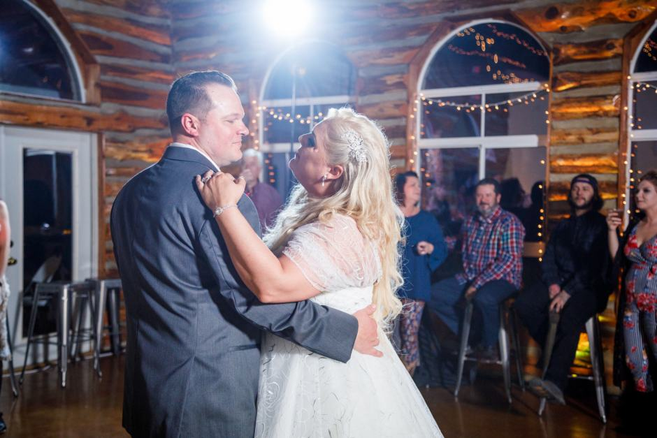 Bride and groom have their first dance at Ruby Ranch Lodge near Austin, Texas in Buda.
