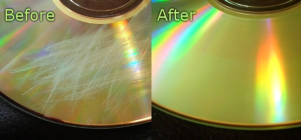 Example of before and after deep scratch removal