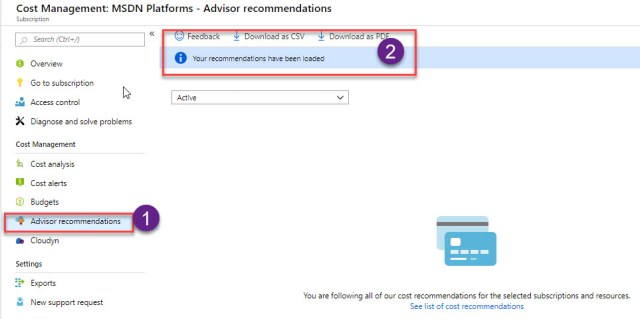 Azure  Advisor recommendations