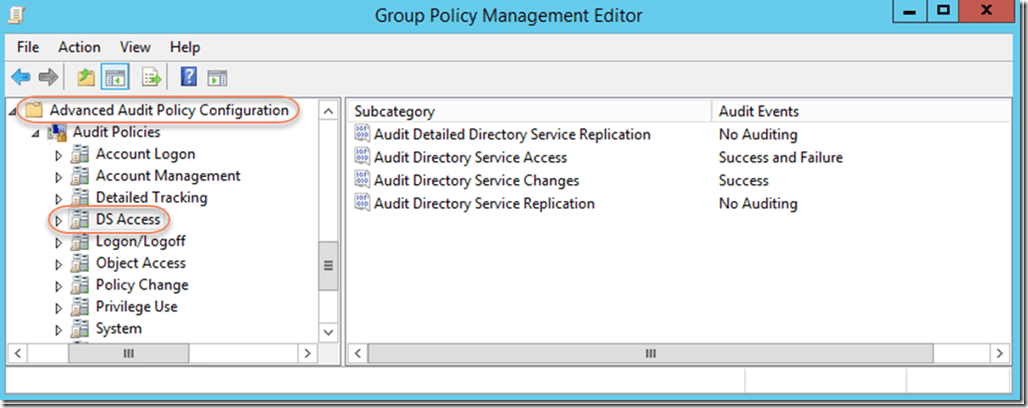 Example of Advanced Audit Policy Settings