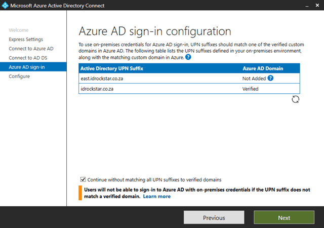 Azure AD sign-in configuration