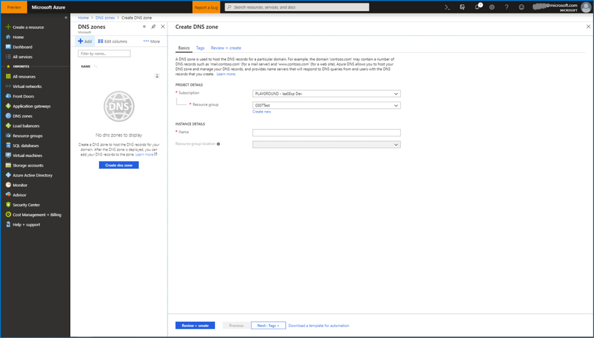 Screenshot of DNS Zones FSC in the Azure portal