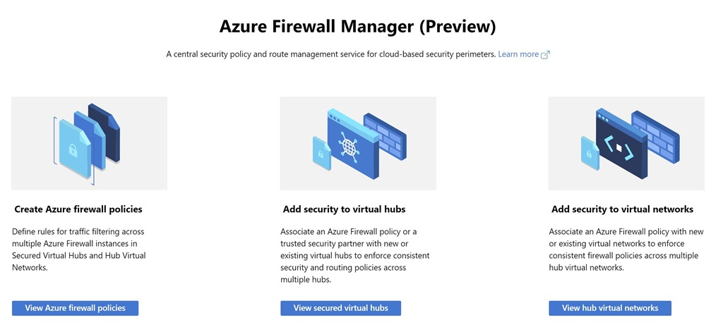 Azure Firewall Manager getting started page