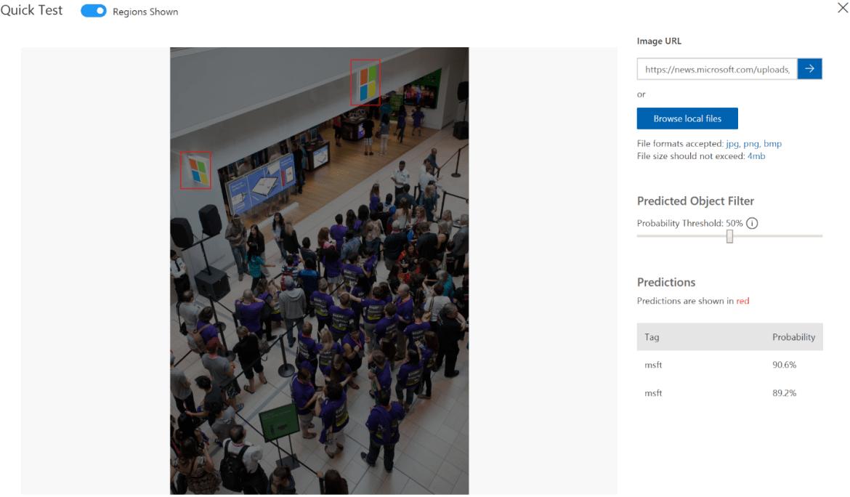 Screenshot of the Custom Vision platform