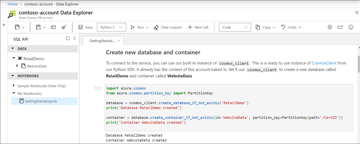 Create new database and container with built-in Python SDK in notebook.
