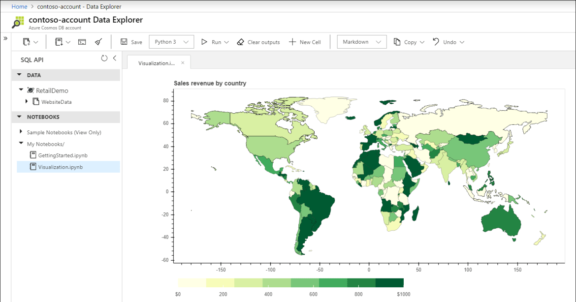 Choropleth world map of data stored in Azure Cosmos DB, showing revenue by country.
