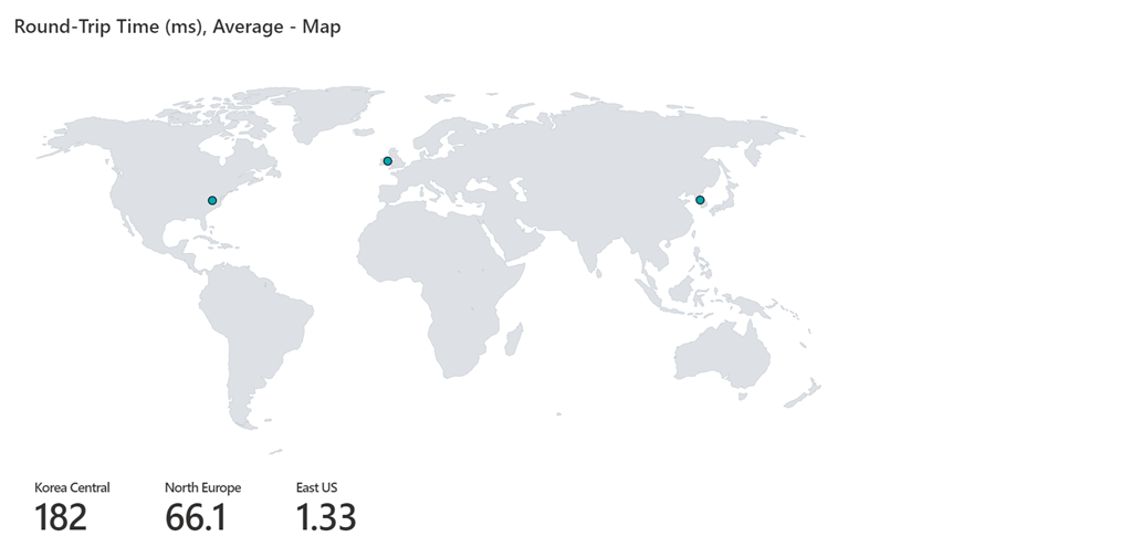 An example of the Connection Monitor tab of the Load Balancer Detailed Metrics page is shown. This image shows a map of the globe with points for each region with a connectivity monitor configured and the round-trip latencies from that region to the Load Balancer.