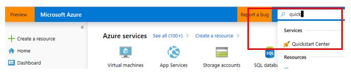 Screenshot of Azure portal search for quickstart center