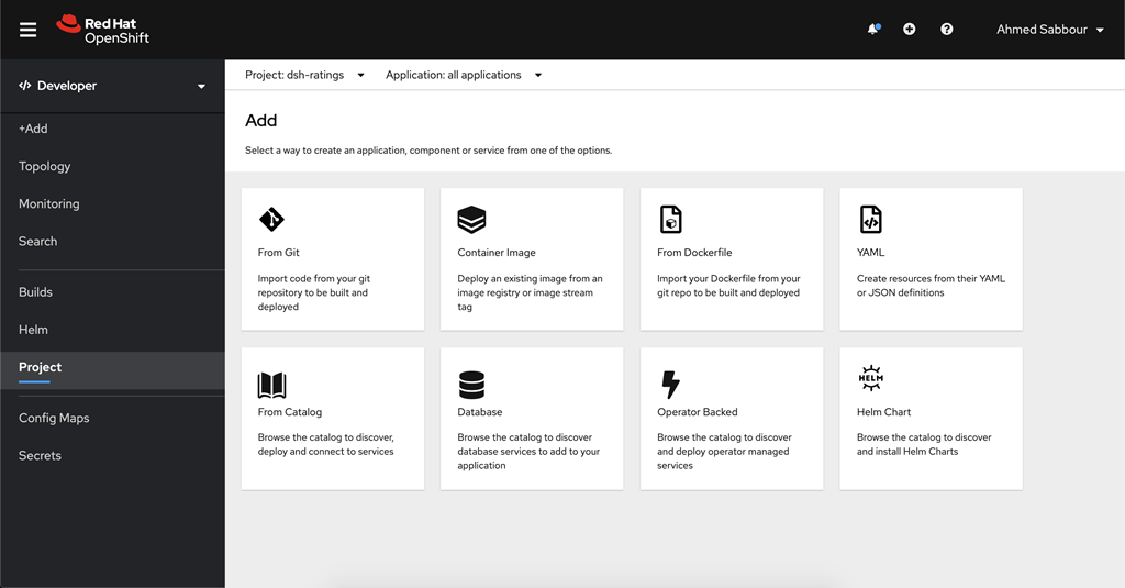 Screenshot of Azure Red Hat OpenShift developer portal