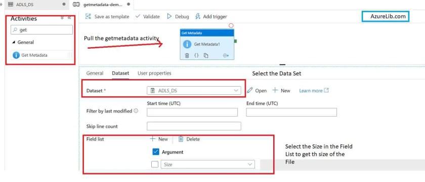 GetMetaData Activity Get the Size of File