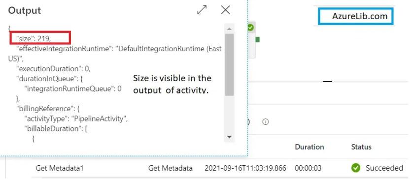 GetMetaData Activity Get the Size of File Output