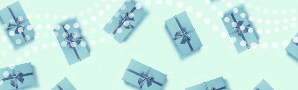 blue gift boxes dotted wave