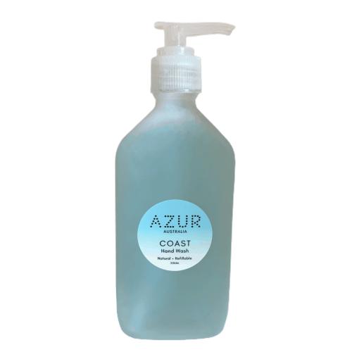 Hand Wash Blue Glass Bottle