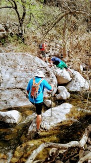 Hikers explore Fish Creek along the Apache Trail