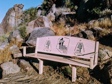Resting bench located along Granite Mountain Hotshots Memorial Trail