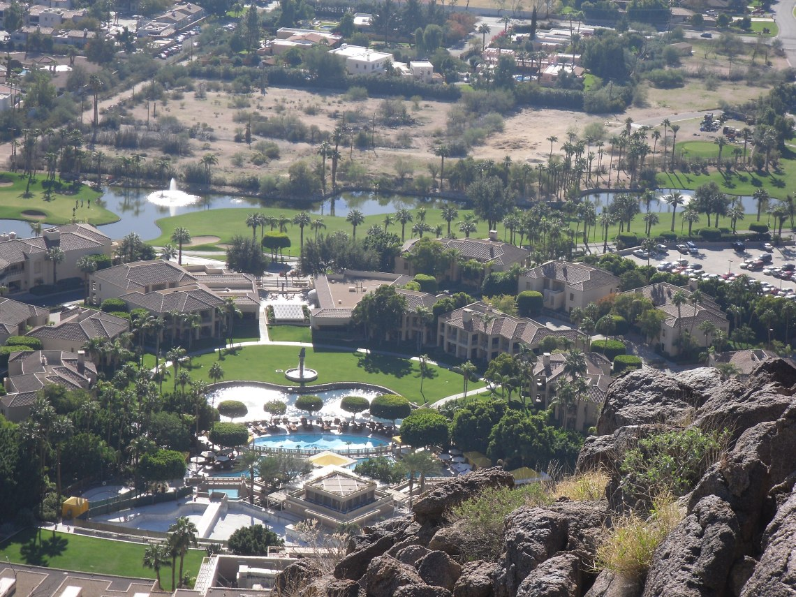Birdseye view of the Phoenician Resort from Cholla Trail.