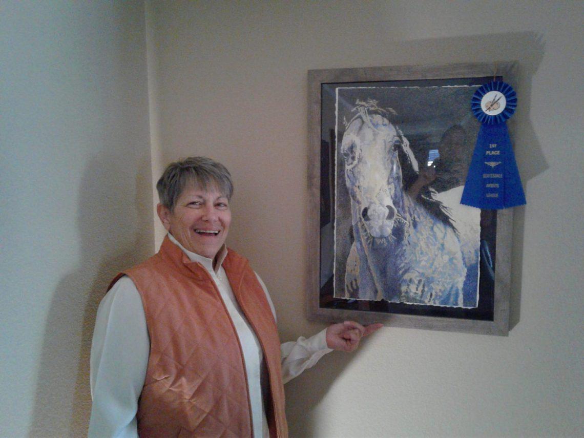"""Marsha LAZAR Klinger with her color pencil art """"Blue War Horse"""""""
