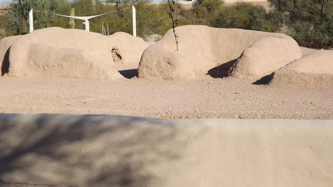 Remnants of mound dwelling at Pueblo Grande Museum in Phoenix, AZ