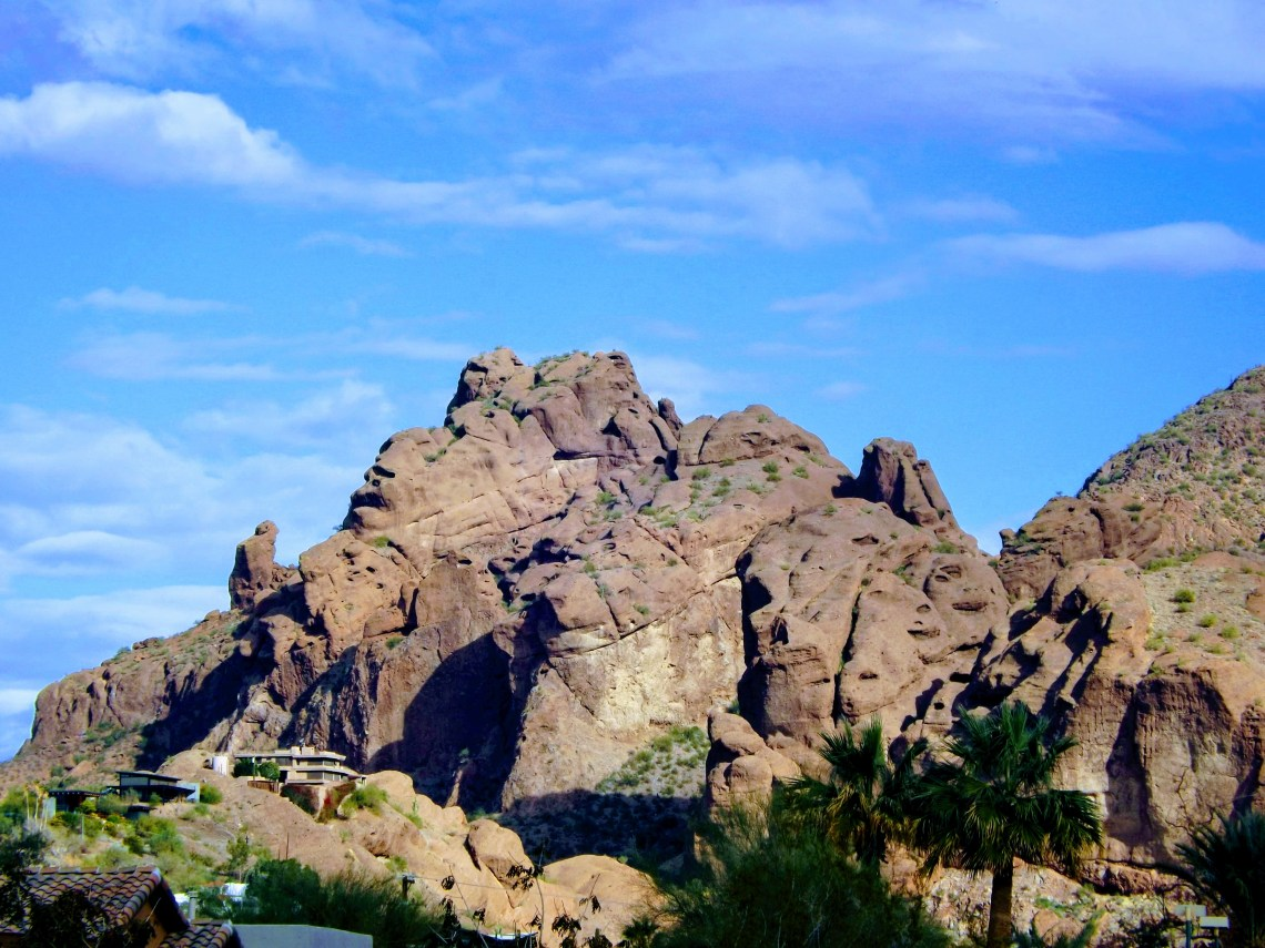View of a rock formation in Scottsdale, AZ. Praying monk formation is visible.