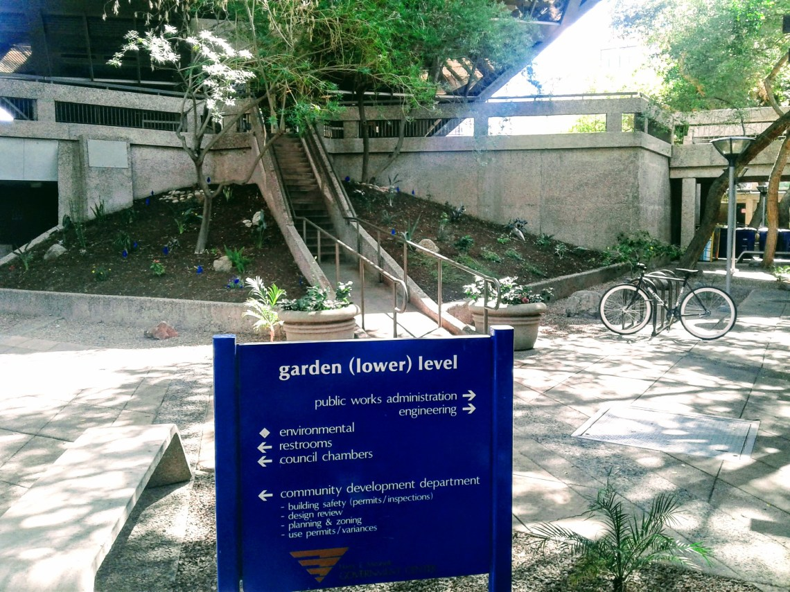 Garden (lower) level of Tempe's inverted pyramid building