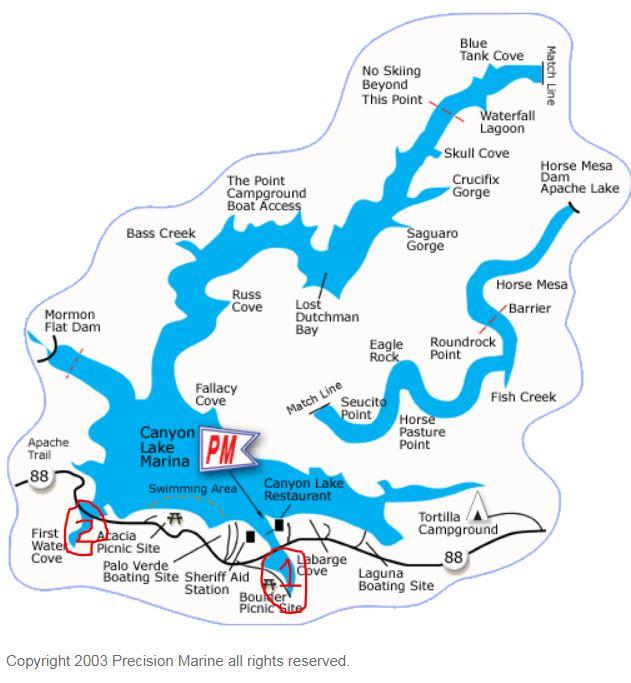 Map of Canyon Lake in Arizona