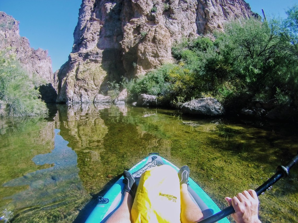 front portion of inflatable kayak in shallow water