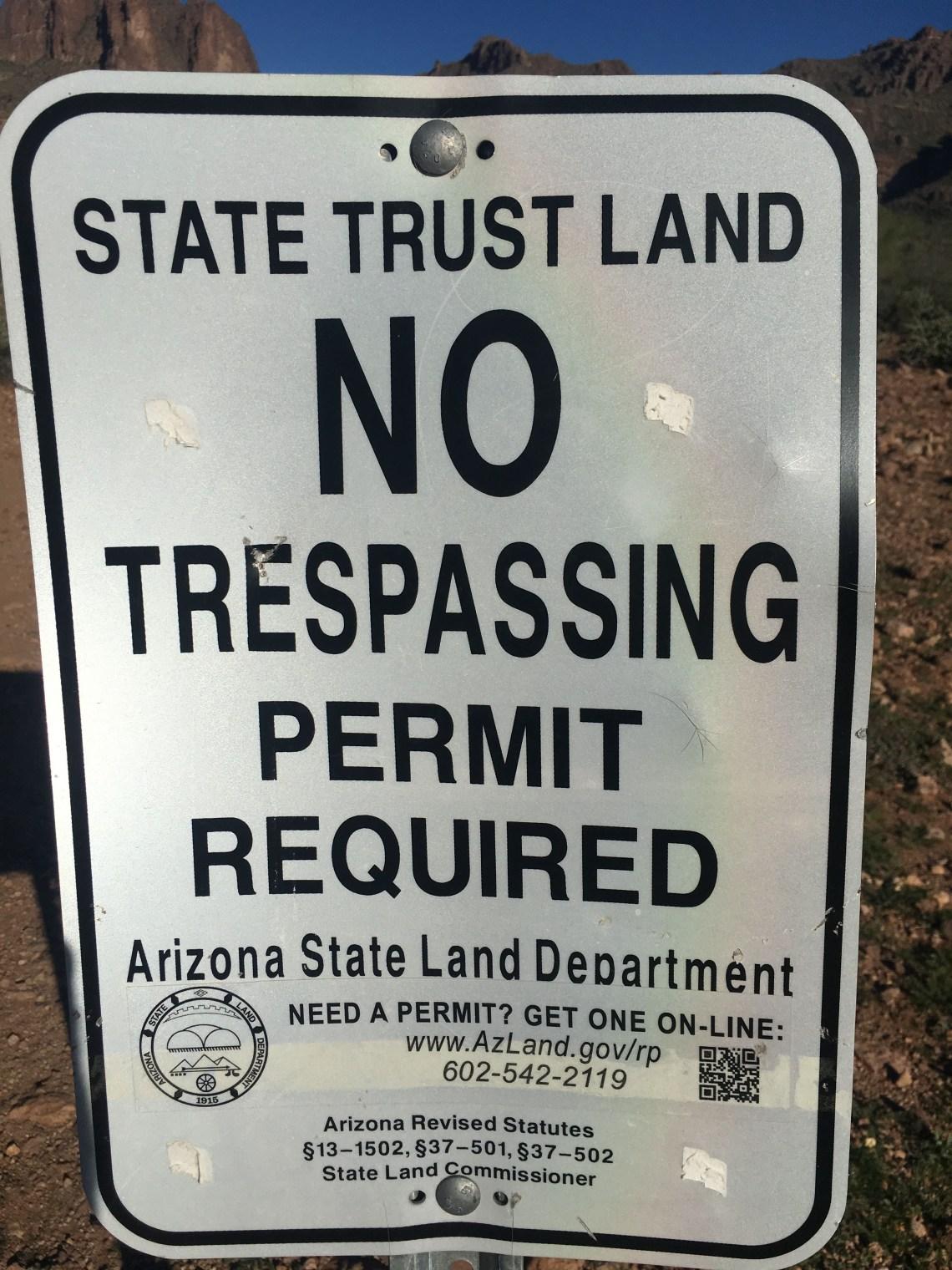 AZ State Land Trust No Trespassing sign