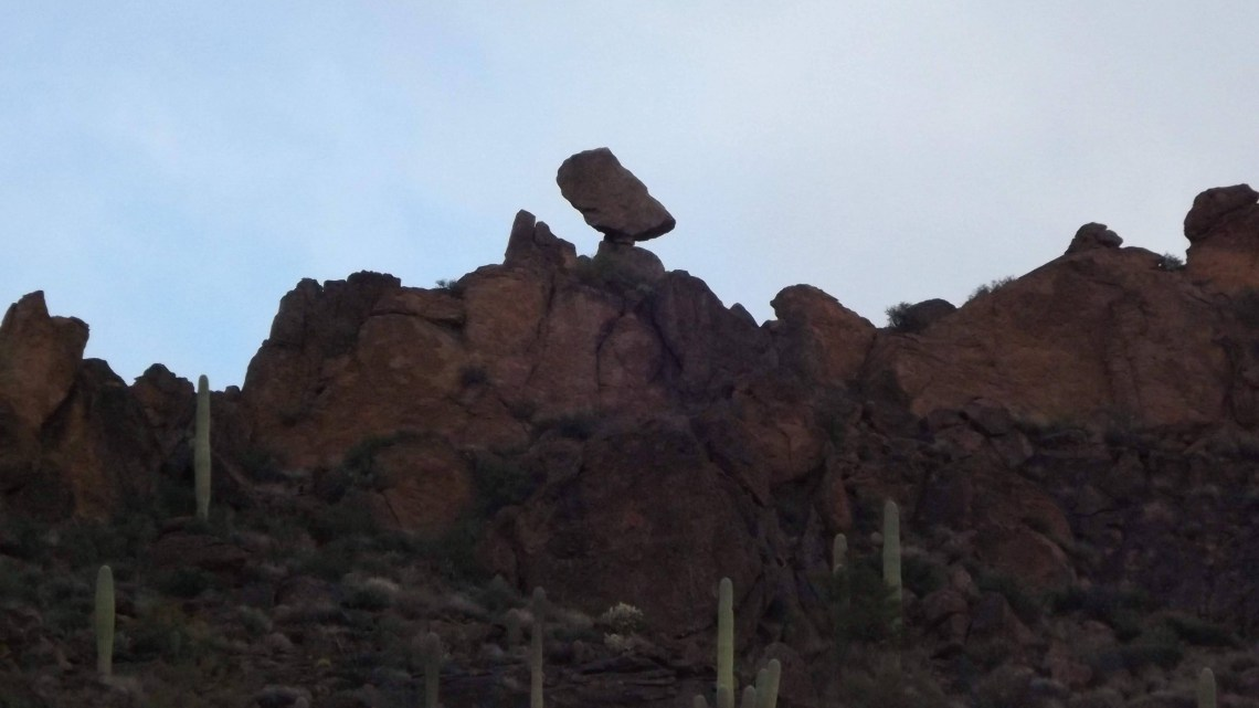 Balanced rock visible on the Superstition Ridgeline from Hieroglyphic Trail