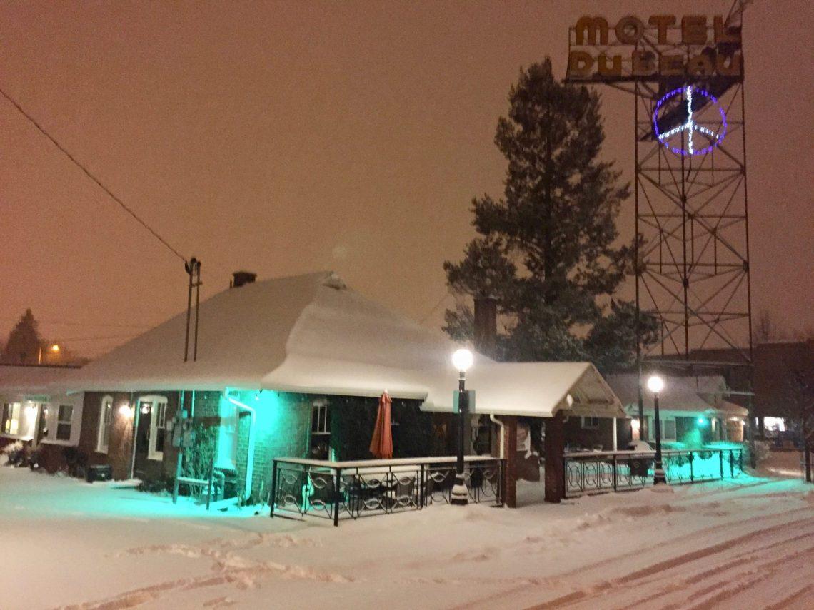 snowy scene in Flagstaff, AZ