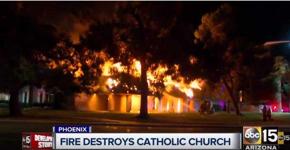 Church fully engulfed in flames