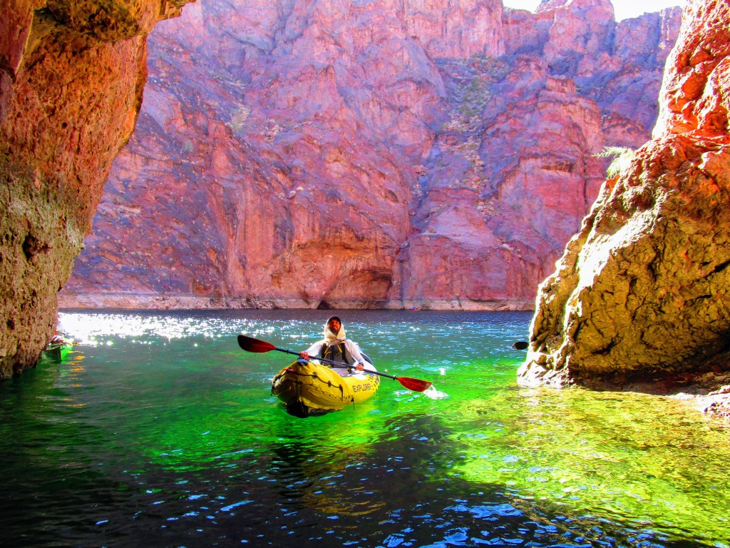 Kayaker enters Emerald Cove