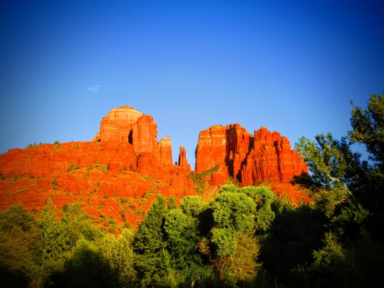 Sedona's iconic Cathedral Rock formation viewed from Crescent Moon Picnic Site