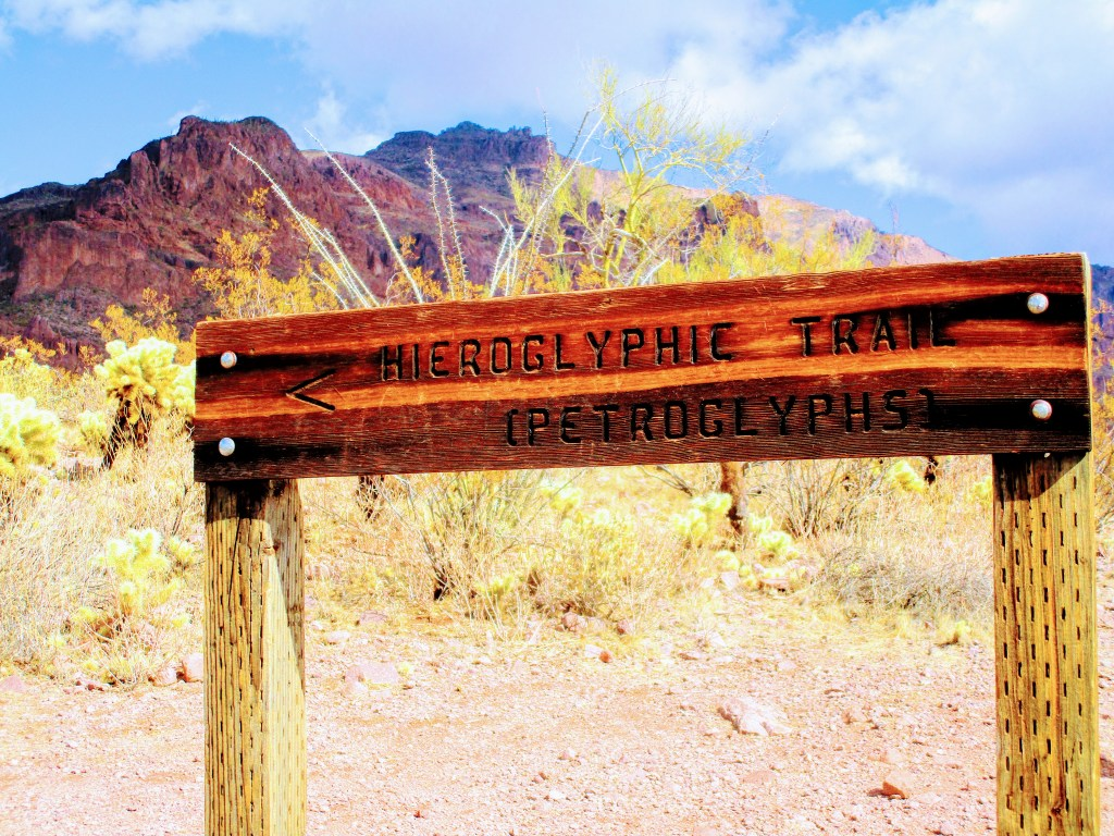 Sign pointing way to Hieroglyphic Trail